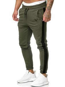 Pantalones para hombre Poliéster Bloque de color Ajuste cónico Pantalones Hunter Green Pantalones para hombre