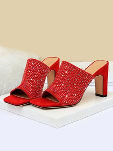 Mules% 26 donna zoccoli pelle scamosciata tomaia nera punta aperta scarpe tacco grosso