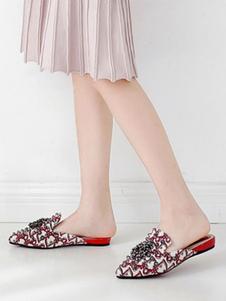 Ciabatte da donna% 26 Zoccoli Tessile Scarpe a punta con punta a punta rossa in tessuto