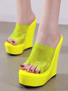 Mules das mulheres% 26 Tamancos PVC superior Oragnge Open Toe Transparente Shoes