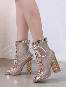 """Sandali da donna neri Stivali con lacci Peep Toe 4.7 """"Sandali con tacco grosso"""