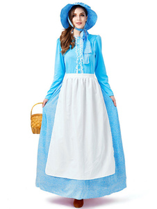 Trajes de halloween Empregada doméstica estilo europeu luz céu azul vestido avental rendas trajes de férias do dia das bruxas