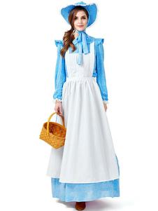A empregada doméstica da mulher dos trajes de Halloween imprimiu trajes dos feriados do Dia das Bruxas do laço do avental do chapéu