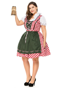 Костюмы на Хэллоуин Пивной костюм для девочек Красное платье на шнуровке Равномерное Ткань Пивные костюмы для девочек Праздничные костюмы Октоберфест
