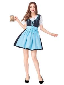 Costume Carnevale Costumi di Halloween Costume da ragazza birra Birra azzurra con fiocco Abito in pizzo Costumi da ragazza birra Vacanze Costumi Oktoberfest