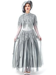 Trajes de Halloween das Mulheres Corpse Bride Retro Chapéu Cinza Vestido de Crina Fina Cetim Halloween Feriados Trajes
