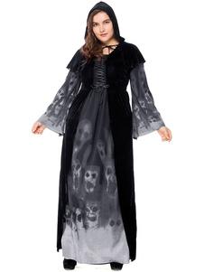 أسود هالوين ازياء مصاص دماء اللباس أوبي البوليستر جمجمة المرأة الإجازات