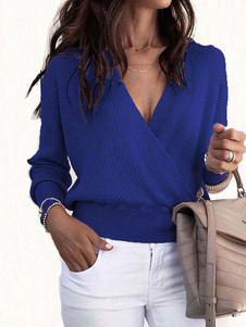 Pullovers Sweater Para Mulheres V Neck Long Sleeves Jumper