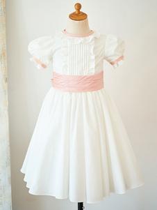 Vestidos de niña de las flores Cuello joya Algodón Mangas cortas Hasta la rodilla Princesa Silueta Arcos Vestidos formales para niños