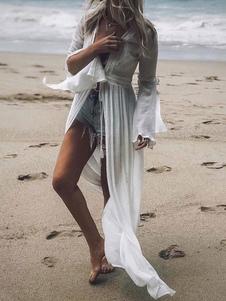 Cover Ups para mujer Blanco con cuello en V manga larga con forma de verano sexy trajes de baño