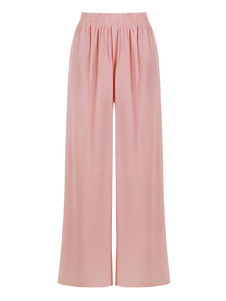 Pantalones anchos Pantalones de cintura alta de lino y algodón rosados