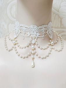 Collana Lolita Perle bianche Abito da sposa Lolita Misto cotone misto