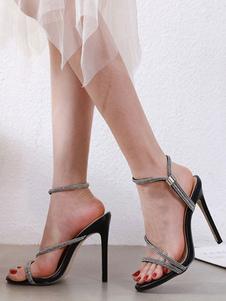 Sandálias das mulheres do dedo do pé aberto sandálias pretas stiletto calcanhar sapatos das mulheres