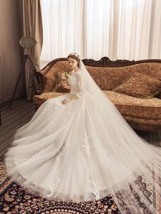 فساتين زفاف العاج الرباط زين جوهرة الرقبة 3/4 طول الأكمام الأميرة ثوب الزفاف مع قطار