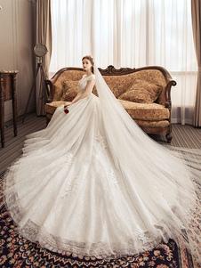 Vestidos de novia de encaje Princesa Vestido de novia Cuello joya de marfil Vestido de novia de manga corta con tren
