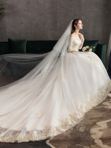 فساتين زفاف الأميرة زين الرباط زين قبالة الكتف نصف كم ثوب الزفاف مع قطار
