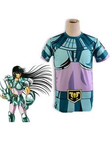 Costume Carnevale Costume cosplay anime in maglietta estiva in stoffa di drago di bronzo di Saint Seiya Saint Shiryu