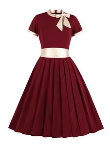 Vestido vintage 1950s embelezado gola arcos plissados mangas curtas vestido de balanço