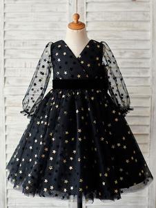 Платья для девочек-цветочниц Черные платья с длинными рукавами и длинными рукавами