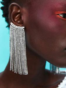 Mulheres Brincos De Prata Com Cinto De Cristal Strass Dangle Perfurado
