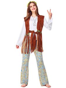 Costume Carnevale Costumi Costumi anni '70 Costumi di Halloween Pantaloni gilet marrone scuro da donna
