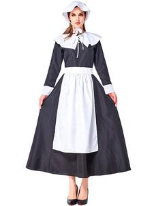 Trajes de Halloween Empregada Doméstica Empregada Doméstica Dois tons Vestidos de Madrinha Traje Preto Inferior-Corpo Trajes de Halloween Feriados