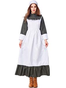 هالوين ازياء المرأة خادمة قبعة الزيتون اللباس نغمتين هالوين العطل ازياء