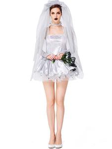 Trajes de Halloween das mulheres do corpo das mulheres luvas de prata vestido fosco cetim metálico Halloween feriados trajes