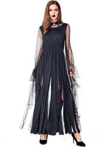 هالوين ازياء المرأة الساحرة المختنق اللباس الاسود ازياء العطل هالوين