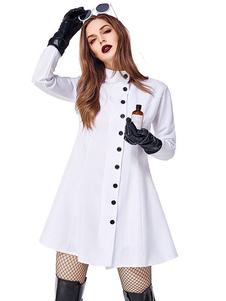 هالوين ازياء ممرضة المرأة مثير ملابس بيضاء قفازات هالوين العطل ازياء