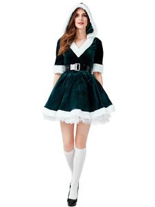 Tecido do poliéster do vestido das mulheres do verde do traje do Natal