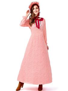 Trajes de Halloween do Dia das Bruxas da Mulher Floral Print Avental Vermelho Vestido de Poliéster de Algodão Trajes de Halloween Feriados