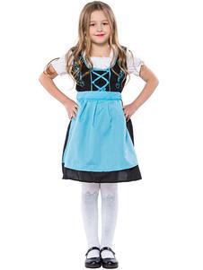 Trajes de Halloween Light Sky Blue Beer Girl Algodão Vestido Infantil Avental de parte inferior do corpo