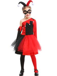 الأطفال هارلي كوين تأثيري الأسود والأحمر اللباس العين التصحيح تول الاطفال توتو تنورة تأثيري ازياء