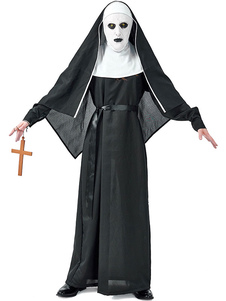 هالوين ازياء الكبار راهبة هود أسود وشاح البوليستر هالوين العطل ازياء