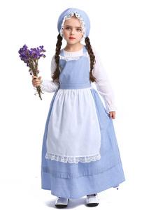 Trajes de Halloween para crianças Azul bebê empregada poliéster Kid \ 's vestido avental parte inferior do corpo