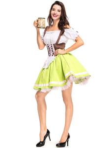 البيرة فتاة زي العشب الأخضر شرائط اللباس البوليستر البيرة فتاة العطل ازياء ازياء مهرجان أكتوبر