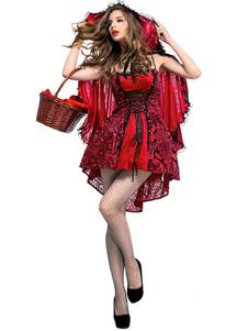 Trajes vermelhos do Dia das Bruxas pouco manto vermelho do vestido da capa de equitação Trajes impressos dos feriados do Dia das Bruxas