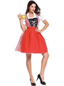 Costume Carnevale Costume da ragazza di birra Abito a pieghe scozzese rosa Costumi di vacanze da ragazza di birra in poliestere Costumi di Oktoberfest