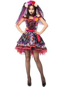 ازياء هالوين الأحمر المرأة جثة العروس وشاح أغطية الرأس الجمجمة هالوين الأعياد ازياء