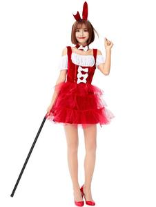 Женские костюмы животных красный хэллоуин головные уборы полиэстер праздничные костюмы