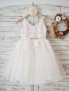 Платья для девочек-цветочков Ремешок на шею без рукавов Формальные детские театрализованные платья