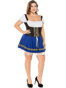 Костюм пивной девушки синее платье с принтом на шнуровке из полиэстера