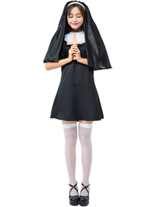 هالوين ازياء المرأة نون أسود أغطية الرأس اللباس البوليستر هالوين العطل ازياء