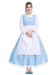 Disfraz Carnaval Disfraces de Halloween Vestido de camisa de sirvienta para mujer Poliéster celeste Disfraces de Halloween Carnaval