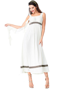 هالوين ازياء المرأة العربية الأنيقة أغطية الرأس فستان أبيض البوليستر المطبوعة هالوين الأعياد الأزياء