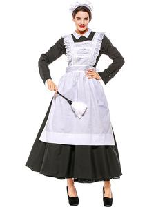 هالوين ازياء المرأة خادمة اللباس الأسود المئزر القطن هالوين العطل ازياء