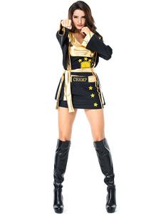 هالوين ازياء المرأة الملاكم شاح الأسود الأعلى البوليستر هالوين العطل ازياء