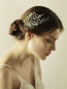 Accesorios para el cabello de metal de hoja de tocado de boda para la novia