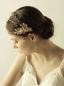 Casco Accesorio de boda Accesorios de pelo de metal de hoja para novia